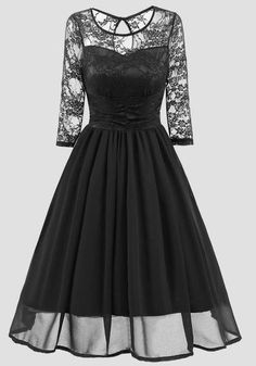 9aea1968f1 Black Patchwork Lace Round Neck Long Sleeve Vintage Midi Dress. Midi  DressesParty ...