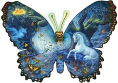 Fantasy Butterfly SunsOut 1000 Piece SHAPED Jigsaw Puzzle by Artist Ruth Sanderson, $18.50