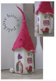 Items similar to Table Lamp, Felted Lamp on Etsy Fairy Crafts, Felt Crafts, Hobbies And Crafts, Diy And Crafts, Clay Fairy House, Fairy Lanterns, Felt House, Clay Fairies, Felt Fairy