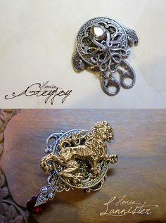 Stunning GoT sigil jewelry. [Greyjoy and Lannister by *sandara on deviantART]