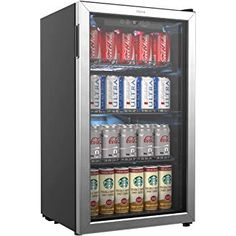 hOmeLabs Beverage Refrigerator and Cooler - Mini Fridge with Glass Door for Soda Beer or Wine - 120 Cans Capacity - Small Drink Dispenser Machine for Office or Bar with Adjustable Removable Shelves Beverage Refrigerator, Mini Fridge, Beer Fridge, Glass Front Door, Glass Door, Best Appliances, Kitchen Appliances