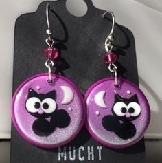 Polymer clay cat earrings - Pendientes de arcilla polimérica de gato - Fimo