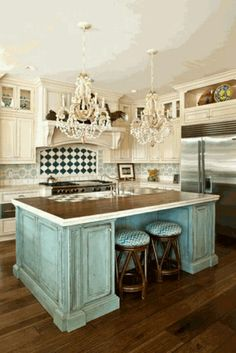 kitchen room shabby chic tile backsplash overlooking pretentious chandeliers over turquoise kitchen island design ideas elegant brown wood kitchen