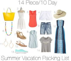 Summer Vacation Packing List - 14 Days - Get Your Pretty On - Summer vacation outfits - Summer Vacation Style, Beach Vacation Packing List, Summer Vacation Outfits, Vacation Wardrobe, Travel Outfit Summer, Summer Wardrobe, Vacation Checklist, Weekend Packing, Beach Vacations