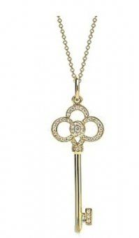 Tiffany And Co Outlet Jewelry Necklaces Transparent Gold Diamond Key$49.95