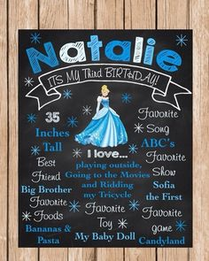 Cinderella Personalized Birthday Chalkboard by BerrySweetParties, $15.00 USD