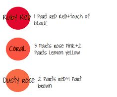 red, coral, rose Using experience and a handy color chart from a veteran cake decorator, I tried to put together a little guide to refer to while mixing icing colors. -says the originator of this info