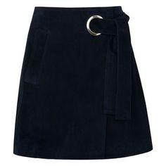 Lori Eyelet Suede Mini Skirt, in Navy on Whistles