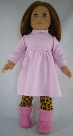 PINK DRESS+ CHEETAH LEGGINGS + BOOTS for American Girl Doll Clothes