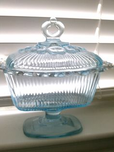 Vintage Depression Glass Candy Dish Blue