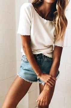 #summer #outfits  White Tee + Denim Short