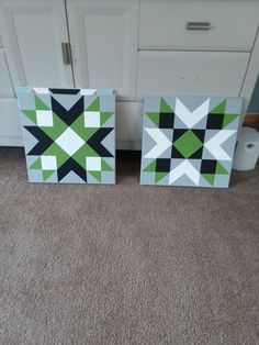 Quilt block pictures to hang on a barn or house. I Love the beautiful color of green they choose for the blocks it works well with the navy blue & white #patches