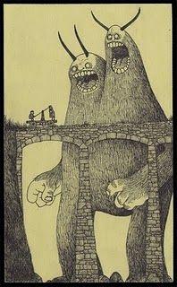 post-it note monster art