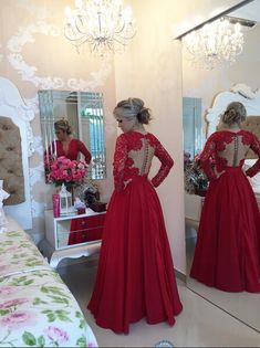 Delicate Red Chiffon Lace Prom Dress 2016 Pearls Long Sleeve_High Quality Wedding & Evening Prom Dresses at Factory Price-27DRESS.COM