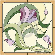tulip in vase pattern stained glass - Google Search