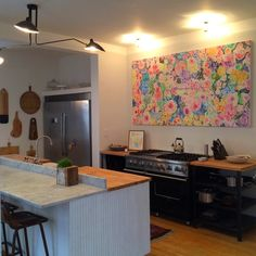 Large art in the kitchen. Painting by Kate Lewis
