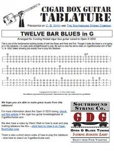 12 Bar Blues in G Cigar Box Guitar Tablature