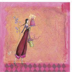 Attractive art card by Gaelle Boissonnard of France. Image: tall slender whimsical girl holding cake, gift and flower branch. Colors: girl in maroon pant suit, pink orange background. Art And Illustration, Illustrator, Art Fantaisiste, Art Carte, Peacock Art, Doodle Sketch, Art Moderne, Flower Backgrounds, Whimsical Art