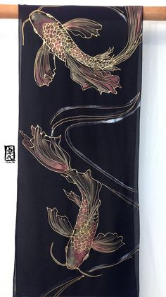 Black Silk Scarf Handpainted, Japanese Gold and Red Koi Scarf, Large Silk Scarf, 14x72 inches. Made to order. This hand painted silk