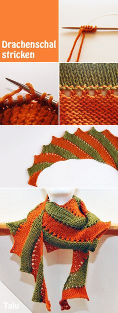 instructions knit dragon tail - beginner& instructions for a dragon scarf - Talu. - Baby hat with ear flaps – Instructions for knitting a dragon tail – Beginners instructions for - Simply Knitting, How To Start Knitting, Knitting For Beginners, Free Knitting, Knitted Shawls, Crochet Scarves, Crochet Shawl, Knit Crochet, Poncho Knitting Patterns