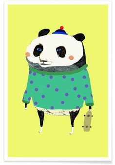 Panda als Premium Poster von Ashley Percival Panda Illustration, Panda Art, Creative Pictures, Pikachu, Hello Kitty, Poster, Owl, Snoopy, Art Prints