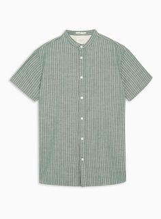 51e6a5a3 SELECTED HOMME Green Stand Collar Organic Cotton Shirt | Topman