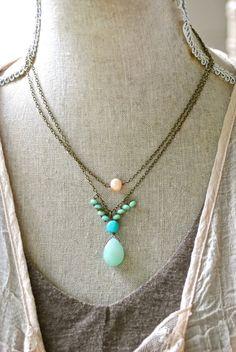 Amelia. boho,layering,gemstone necklace.tiedupmemories
