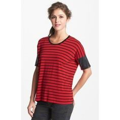 Faux Leather Sleeve Stripe Tee Radiant Red X-Small