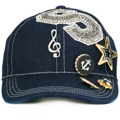 9fad3a5c6 Dolce & Gabbana music-embellishment baseball cap ($895) ❤ liked on Polyvore  featuring accessories, hats, blue, baseball hats, baseball caps, blue ball  cap, ...