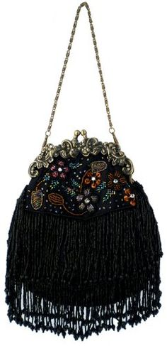 d17fd1b77191 MG Collection Black Vintage Seed Bead Flowers   Tassles Evening Clutch  Handbag MG Collection
