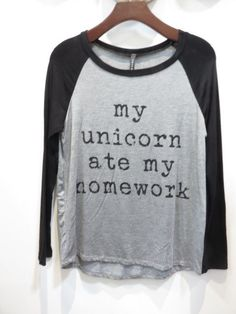 My Unicorn Ate My Homework Tee - Heather Grey/Black