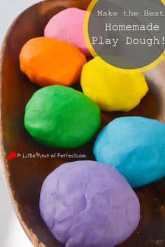 How to Make the Best Homemade Play Dough! -Recipe and tips for lump free, brightly colored play dough  A Little Pinch of Perfect