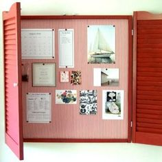 I Like The Idea Of A Pin Board That Can Be Shuttered To Remove The Cluttered Look Of It; Makes The Room Tidier.  Can Be Painted Any Color And Backed With Any Fabric.