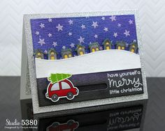 card christmas winter car tree Lawn Fawn Home for the Holidays Lawn Fawn Little Town border snowdrift hills snowfall stars starstarry night  Lawn Fawn blog