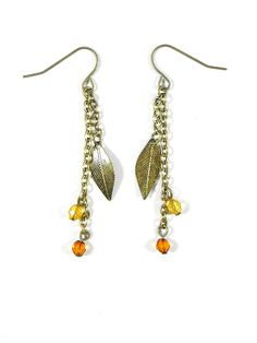 Gold Feather Gem Earrings - $8.00 : FashionCupcake, Designer Clothing, Accessories, and Gifts