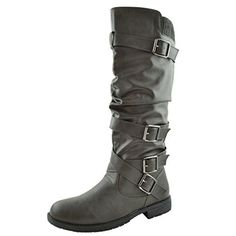 Women's Knee High Boots Strappy Ruched Faux Leather Adjustable Buckles Knitted Calf, http://www.amazon.com/dp/B015Z3HJZA/ref=cm_sw_r_pi_awdm_vQ-HwbHKJVQQ6