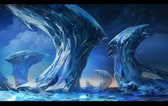 icy silence by Olga Orlova on ArtStation. Space Fantasy, Fantasy World, Fantasy Art, Brutal Legend, Alien Planet, Red Planet, Ice Art, Call Of Cthulhu, Alien Worlds