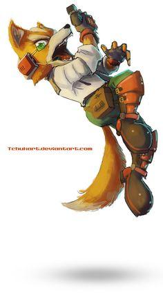 Fox McCloud by Tchukart - Star Fox Star Fox, Pac Man, Super Smash Bros, Viewtiful Joe, Shining Tears, Fox Mccloud, Hack And Slash, Video Game Characters, Video Game Art