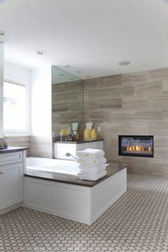 Lynn Donaldson & Associates // Ensuite // Bathroom // Ensuite Fireplace // Bathroom Floor Tile (Photo Credit: Lori Andrews Photography)  #Ensuite #Fireplace #Bathroom