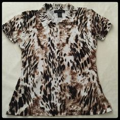 Animal Print Top 🐯Animal Print Crew Top with pretty upper buttons🐯very soft and comfy viscose & nylon material🐯excellent pre owned condition🐯 Venue Tops