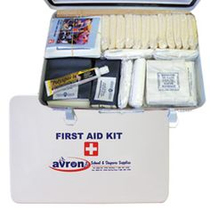 http://avronforkids.com Avron First Aid Kit - Complies with W.C.B. regulations, this compact and mountable metal case includes adhesive tape, compress bandages, emesis basin, gauze bandages, plastic bandages, pocket first aid guide, safety pins, splint padding, splint, assorted wooden splints, and triangular bandages.