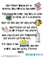 Download Bible Cards to help preschoolers learn Scripture.  (This one is Lords Prayer-One main poster, and 6 cards breaking downthe verses) AWESOME!