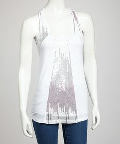 Take a look at this White Sequin Tank Top by Buy in America on #zulily today!