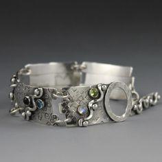 Sterling Silver Bracelet with Gemstones - Double ShotWave. $218.00, via Etsy.