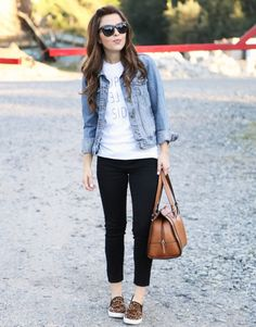 upper left side tee with cheetah shoes, jean jacket, jeggings and a cognac satchel.  super casual fall style