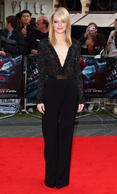 A disco glamour jumpsuit without 70s cheese?  Emma Stone looks so glamorous