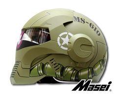 Masei Green Zaku US Army Stormtrooper 610 Motorcycle Harley Chopper DOT Helmet