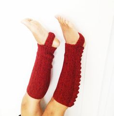 Red Tweed  Crochet Stirrup Leg Warmers Boot Toppers by cookieletta, $52.00