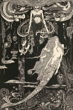 """Seamaid"" by Harry Clarke. From Fairy Tales by Hans Christian Andersen, ""The Little Mermaid"" : https://bookemstevo.wordpress.com/tag/hans-christian-andersens-fairy-tales-illustrated-by-harry-clarke/   http://mythicjourneys.org/newsletter_jun07_anderson.html"