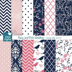 This elegant navy and coral papers set is suitable for scrapbook, card design,…
